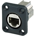 Neutrik NE8FDX-P6-W D-shape CAT6A Panel Connector - Shielded/ Feedthrough/ Rubber Sealing/ IP65 When Mated/ Nickel