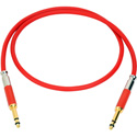 Neutrik NKTT06-R-AU Patch Cable TT Nickel Crimp/Solder - Gold Contacts - 2 Foot (Red)