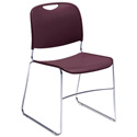 National Public Seating 8500 Series Hi Tech Compact Stack Chair (Wine) - Carton of 4