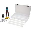 Platinum Tools EXO ezEX-RJ45 Termination Kit with crimper/die/stripper and connectors in a plastic case