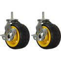 RocknRoller RCSTR6X3 6 Inch x 3 Inch Ground Glider Wide caster with Brake upgrade for R14 - 2 Pack - Yellow Hub