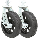 RocknRoller RCSTR8X2BK 8 Inch x 2 Inch R-Trac Caster with Brake for R12 - 2 Pack - Black Hub