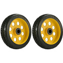 RocknRoller RWHLS8X2 8 Inch x 2 Inch R-Trac Symmetrical Wheel for R12 Caster - 2 Pack - Yellow Hub