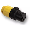 Switchcraft AAA3FBYYLP Low Profile 3 Position Female XLR Connector - Black with Yellow Back