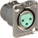 Switchcraft DE3F   Female Panel Mount Connector 3 Silver Contacts Nickel Finish