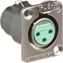 Switchcraft DE3FBAU Panel Mt XLRF 3 Silver Contacts Nickel Finish Pkg w/Screws