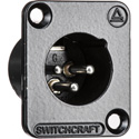 Switchcraft DE3MB DE Series Panel Mount - XLR Male 3 Silver Pins - Black Finish