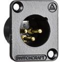 Switchcraft DE3MBAU DE Series Panel Mount - XLR Male 3 Gold Pins - Black Finish