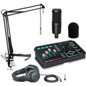 TC Helicon GoXLR Premium Kit with Audio-Technica Condenser Mic & Monitor Headphones/Mic Boom Arm with Cable & Windscreen