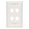 Tripp Lite N042-001-04-WH 4-Port Quad Outlet RJ45 Universal Keystone Face Plate / Wall Plate White