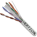 Vertical Cable 060-493/WH Cat-6 UTP 8-Conductor Bulk Cable - AWG23 Solid-Bare Copper Pull Box - White - 1000 Feet