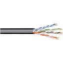 West Penn 4246OSPBK0500 4 Pair 23 AWG Solid Stranding 10/100/1000 BaseT Ethernet CAT6 PVC Cable - 500 Feet