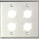 2 Gang Wall Plate w/4 D Series Cutouts
