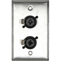 Single Gang Stainless Steel w/2 Neutrik NCJ6FI-S XLR & 1/4 Combo Jacks