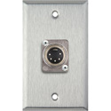 1G Stainless Steel Wall Plate with One Male 5-Pin XLR DMX Connector