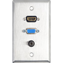 1-Gang Stainless Steel Wall Plate w/HDMI & 15-Pin VGA & Stereo Mini