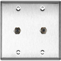 MCS WPL-2102 2-Gang Stainless Steel Wall Plate with Two F- Female Barrel Connectors