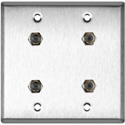 MCS WPL-2103 2-Gang Stainless Steel Wall Plate with 4 F- Female Barrel Connectors