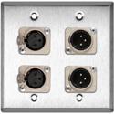 Neutrik Dual 3-Pin XLR-M & Dual XLR-F 2-Gang Stainless Wall Plate