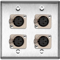 2-Gang SSteel Wall Plate with 4 Neutrik Latching 3-Pin XLR Females