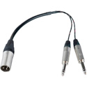XLR Male to Dual 1/4 TRS Male Y-Cable 12 Inch