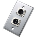 Neutrik 203m Brushed Stainless Steel Wallplate with two NC3MD-L-1 XLR male connectors