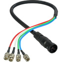 Laird 4KMDF-4BNC-003 4K UHD Canare 3G/HD-SDI Coax MDF-BNC 4-Channel Din Female to BNC Camera Breakout Cable - 3 Foot
