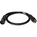 Laird 4KMDM-MDF-003 4K UHD Canare 3G/HD-SDI Coax MDM-MDF 4-Channel Din Male to Female Camera Cable - 3 Foot