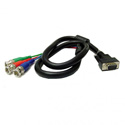 RGB Video Cable w/ HD15 Male to 3 BNC Males 6ft