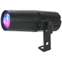 ADJ PinSpot LED Quad High Powered DMX Pin Spot with 1x8W Quad Color RGBW LED 15 Degree Beam Angle Dimmable - IR Remote