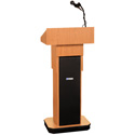 Amplivox S505A-OK Executive Adjustable Column Lectern - Wired Sound - Oak
