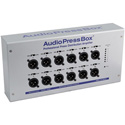 AudioPressBox APB-112-OW-D On-wall Active Pro AudioPressBox with 1-Ch Dante Input & 12 LinE/Mic Outputs - PoE Powered