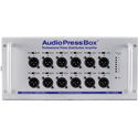 AudioPressBox APB-112-SB-D Portable Active Professional AudioPressBox with 1 Channel Dante Input/12 Line/Mic Outputs