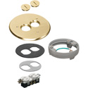 Arlington FLB6220MBLR Flip Lid Style Metal Cover Kit with Leveling Ring & 2 Threaded Plugs - Brass
