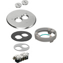 Arlington FLB6220NLLR Flip Lid Style Metal Cover Kit with Leveling Ring & 2 Threaded Plugs - Nickel