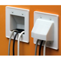 Arlington CE2 Scoop 2-Gang Cable Entrance Wall Plate Pass Through - White