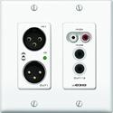 Attero Tech UND3IO-B-C 2x2 Ch 2 Gang US Wall Plate XLR In & Out - RCA - 3.5mm I/O - PoE - Black - Symetrix control