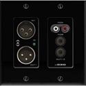 Attero Tech UND3IO-B-U 2x2 Channel 2 Gang US Wallplate with XLR RCA 3.5mm I/O PoE - Biamp Tesira Compatible - Black