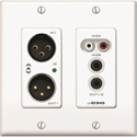 Attero Tech UND3IO-W-U 2x2 Channel 2 Gang US Wallplate with XLR RCA 3.5mm I/O PoE UDP 3rd Party Compatible - White