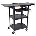 Luxor AVJ42KBDL Adj. Height Steel A/V Cart - Pullout Drop Leaf
