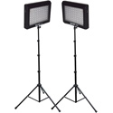 Bescor LED-95DK2 Dual 95 Watt 6500K Daylight Balanced Dimmable LED Video Light Fixtures & Stands