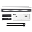 Belden AX103114 KeyConnect Modular Blank Keystone Patch Panel - 24-Port x 1RU - Black (Empty)