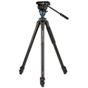 Benro A2573F Aluminum Single Video Tripod with S4 PRO Flat Base Fluid Video Head