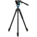 Benro A2573F Aluminum Single Video Tripod with S6 PRO Flat Base Fluid Video Head