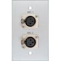 My Custom Shop BRP-1116/CA Boardroom Series 1-Gang Clear Anodized Wall Plate w/ 2 Neutrik 3-Pin XLR Female Connectors