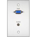 My Custom Shop BRP-1154/CA Boardroom Series 1-Gang Clear Anodized Wall Plate w/ VGA-F Feedthru & solder 3.5mm TRS