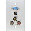 My Custom Shop BRP-1157-FT/CA Boardroom Series 1-Gang Clear Anodized Wall Plate-VGA-F/2 RCA/3.5mm TRS/BNC (all feedthru)
