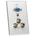 My Custom Shop BRP-1181-CA-BSTK Boardroom Series 1-Gang Clear Anodized Wall Plate-VGA-F/ 3 RCA/solder 3.5mm TRS B-Stock