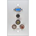 My Custom Shop BRP-1181-FT/CA Boardroom Series 1-Gang Clear Anodized Wall Plate-VGA-F/ 3 RCA/ 3.5mm TRS (all feedthru)