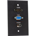 My Custom Shop BRP-1213/BA Boardroom Series 1-Gang Black Anodized Wall Plate w/ HDMI/ VGA & Mini
